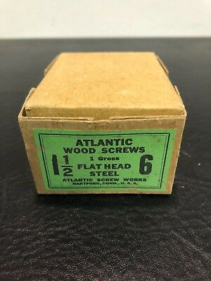 Vtg Atlantic #6 X 1 1/2 Inch Flat Head STEEL SLOTTED Wood Screws 155 box