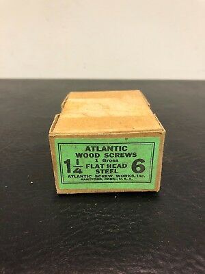 Vtg Atlantic #6 X 1 1/4 Inch Flat Head STEEL SLOTTED Wood Screws 123 box