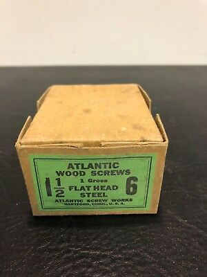 Vtg Atlantic #6 X 1 1/2 Inch Flat Head STEEL SLOTTED Wood Screws 169 box
