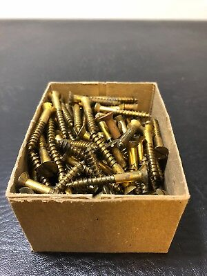 Vtg Atlantic #8 X 1 1/4 Inch Flat Head BRASS SLOTTED Wood Screws 139 box