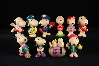 Snoopy PVC Valentines and Easter figures lot of 10