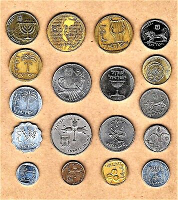 Israel 18 select lot of coins w/ Menorah,Chalice,Figs,Lion,palm trees,Harp + +