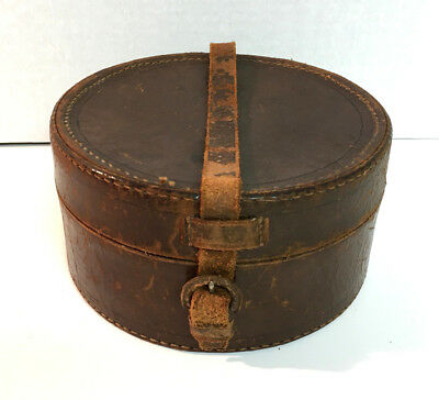 Antique Small LEATHER HAT BOX CASE Possible Salesman's Sample