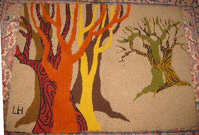 VINTAGE Hand-Hooked signed FIBER ART Tapestry- Autumn Tones - WINTER Grove TREES
