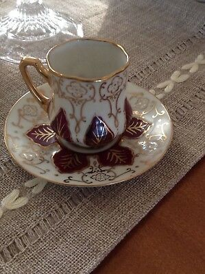 Vintage hand painted Lenwile China ARDALT occupied Japan demitasse cup & saucer