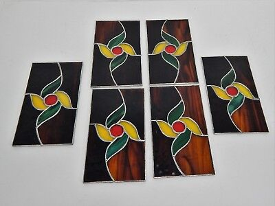 Vintage Leaded Stained Glass Panels 6 Piece Set