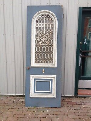 Vintage Victorian Oak Door, Arched Window, Rod Iron Panel~~OHIO-PICK-UP~~ONLY!!