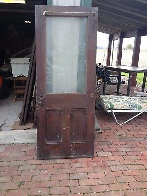 Vintage Heavy Solid Wooden Door, With Window, Cherry??~~OHIO--PICK-UP~~ONLY!!