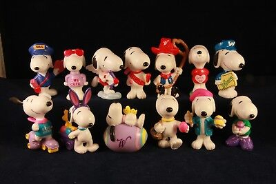 Snoopy Valentines Day and Easter PVC Figures Russell Stover lot of 13