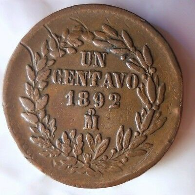 1892 MEXICO CENTAVO - RARE Early Date Coin - Big Value - Lot #J17