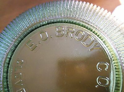 """Vintage E. O. Brody Clear 6"""" Ribbed Glass Bowl Cleveland Authentic Avocado"""