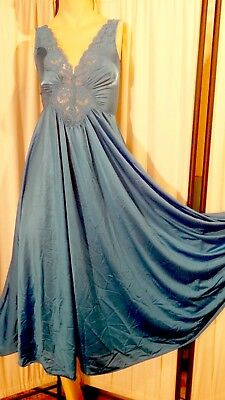 Vintage Olga Gown Nightgown Lace Bodice Blue S