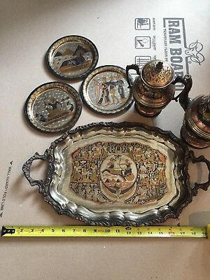Large Vintage Egyptian Revival Engraved Brass Serving Tray Hiero vessels 30+ yrs