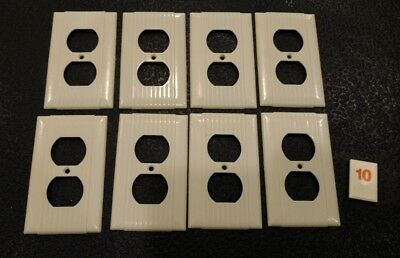 8 Ivory Vtg Bakelite Ribbed Deco Single Gang Bryant Outlet Plate Covers -  O10