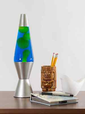 LARGE 36cm Motion Lava Lamp with Silver Base Yellow Wax Blue Liquid Night Light