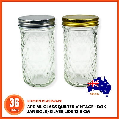 36 x 300ml Quilted Glass Jars with Lid  Wedding Favours Candle Making Containers