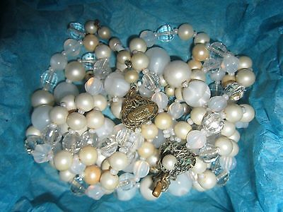 Vintage Miriam Haskell 4 Strand Bead Necklace for Repair Harvest or Craft Parts