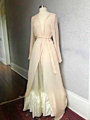 Vintage Victoria's Secret Pink Silk Chiffon Negligee See Though Robe med/lg