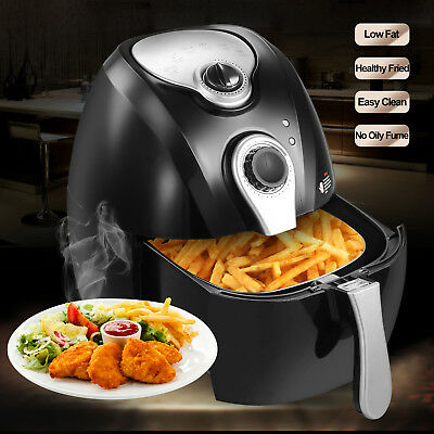 2.7L 1300W Electric No Oil Air Fryer Timer Temperature Control W/Cooking Presets