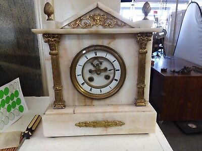 French White Marble Open Escapement Clock Runs But Fast