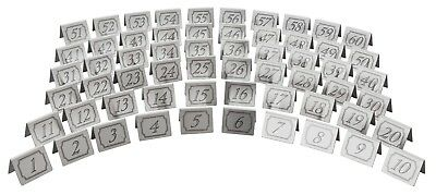 """Stainless Steel Table Numbers Tent Shaped Restaurant Table 2"""" x 1.5""""  Sets of 10"""