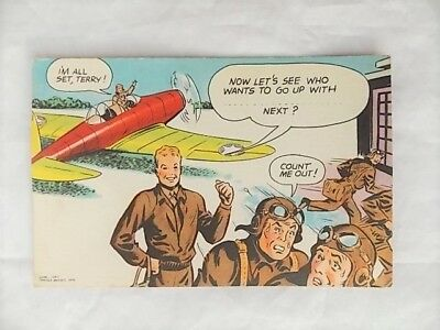 VTG 1943 Terry & Pirates WWII Pilot Comic Strip Postcard Fill in Blanks Unused