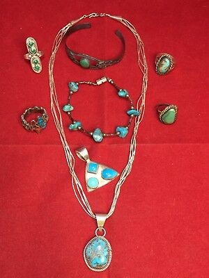 Vintage Sterling Native American Indian Jewelry Lot Navajo Turquoise