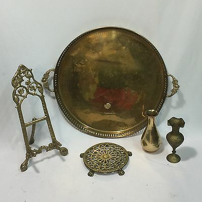 Lot of 5 Vintage BRASS Home  Decor -Mixed Pieces- Vases, Platter, Tray, Trivet