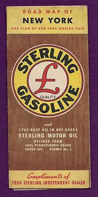 1940 STERLING GASOLINE NEW YORK ROAD MAP n WORLDs FAIR PLAN FACTS MILEAGE CHART