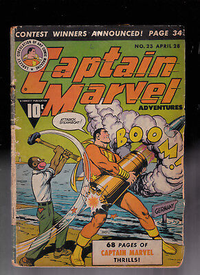 Captain Marvel 23  WWII Cover Coll glue spine & tape 1/2 BC missing Ray Miller