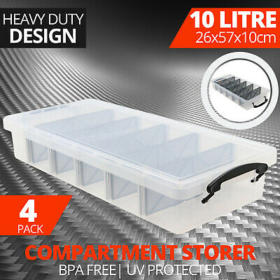 4 x UNDER BED PLASTIC STORAGE BOX WITH REMOVABLE DIVIDERS 10L Containers Bin Tub