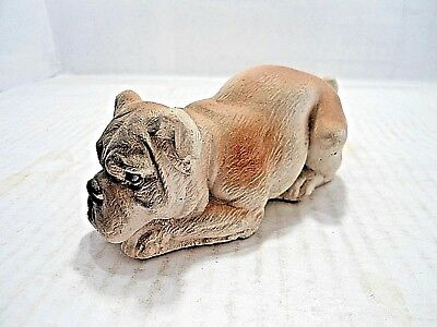 Bulldog Collectible: Vintage Figurine Of A Bulldog At Rest; Sand Cast? Figurine