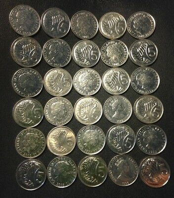 Old Cayman Islands Coin Lot - 30 Lower Mintage Coins - Lot #J17