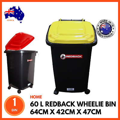 60L Redback Heavy Duty Kids Toy Mini Plastic Storage Wheelie Bin Container