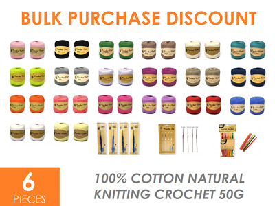 6 x 100% Cotton 50g Natural Soft Crochet Knitting COTTON 20 Colours CHOICE