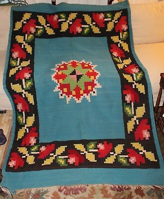 """Vintage Mexico Native American Navajo Southwestern Wool Rug 82"""" X 53"""" Turquoise"""