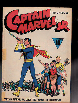 Captain Marvel Jr 3 Taped Split Spine Raboy Cover Capt Nazi Nippon Ray Miller