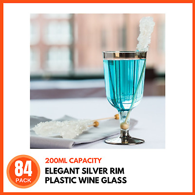 120 x 200ml Wedding Party Disposable Plastic Wine Glasses Cups Goblet Silver Rim