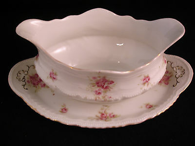 Victoria Austria 353 Gravy Boat Pink Roses Attached Underplate RARE Pattern