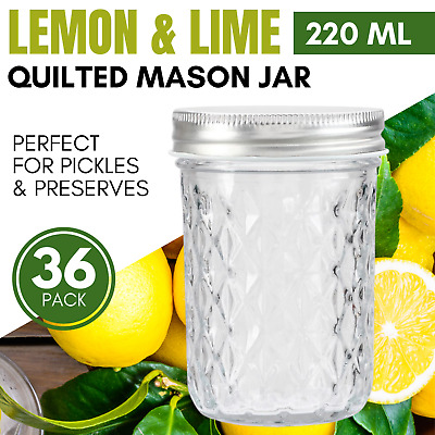 36 x 220ml Quilted Glass Jars with Lid  Wedding Favours Candle Making Containers