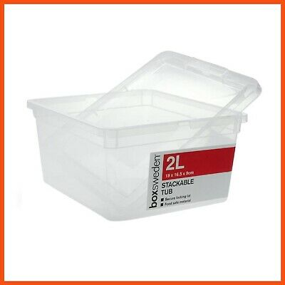 36 x 2L Stackable Plastic Storage Boxes with Lid - Storage Containers Tubs Bins