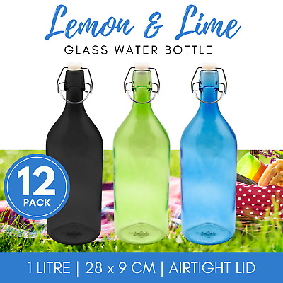 12 x ROUND GLASS WATER BOTTLE 1L | Colour Glass Carafe Water Bottles Jug Pitcher