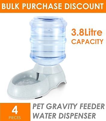 4 x 3.8L Automatic Pet Dog Cat Gravity Water Dispenser Station Feeding Bowl Dish