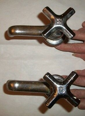 DICK Brand--Pair Antique SINK FAUCETS--Chrome Over Solid Brass--Vintage