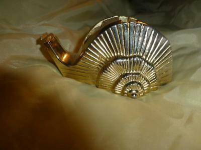 Vtg Hollywood Regency 70s gold metal desk Snail shell nautilus tape Dispenser