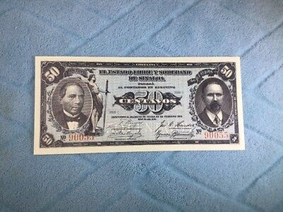 MEXICO 1915 Series C State of Sinaloa Mexico 50 Centavos Banknote UNCIRCULATED