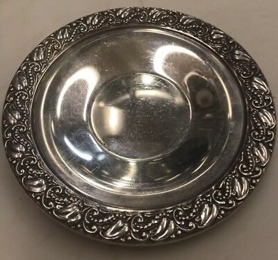 Webster Sterling Silver 925 WC 6546 Repousse Rim 4 Inch Saucer Plate 27 Grams