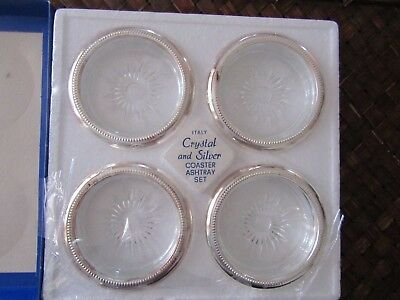 4 NIB Vintage Crystal Silver Plated Ashtray Coaster by Leonard Made in Italy