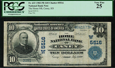 1902 $10 National Bank Note - Caney, KS - FR.633 Charter 5516 - PCGS 25
