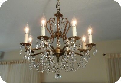 Vintage Antique Brass Chandelier With Czech Crystals 8 Lights